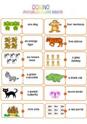 English Worksheet: Domino. Animals, birds and insects