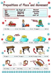English Worksheet: Prepositions of place and movement