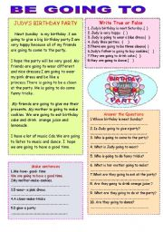 English Worksheet: Judy�s birthday Party