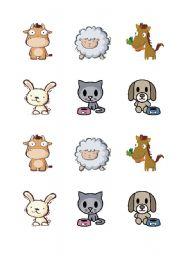 English Worksheets: animals - pairs game