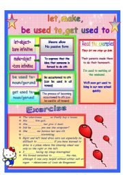 English Worksheet: Let, Make, Be used to, Get used to