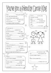 English Worksheet: You´ve got a friend by Carole King