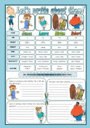 English Worksheets: LET�S WRITE ABOUT THEM!