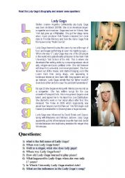 English Worksheets: Lady Gaga�s biography
