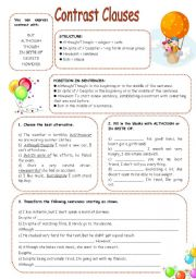 English Worksheet: CONTRAST CLAUSES EXERCISES