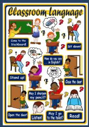 English Worksheet: CLASSROOM LANGUAGE - POSTER 1