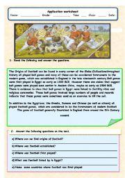 English Worksheet: The history of football