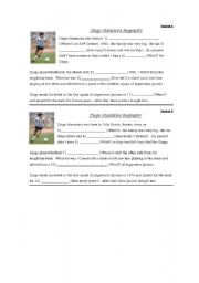 English Worksheets: Text about Maradona to work with questions