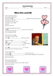 English Worksheet: When she loved me (Toy Story)