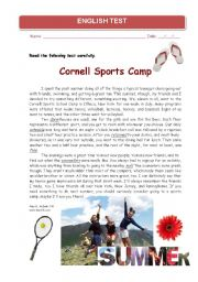 English Worksheet: Test for pre-intermediate students about holidays and summer activities