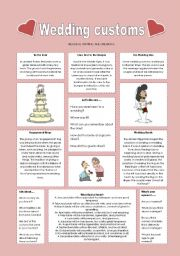English Worksheet: Wedding customs