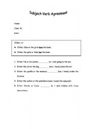 English Worksheet: Subject-Verb Agreement Worksheet