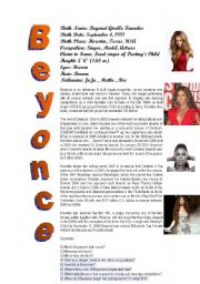 English Worksheets: Beyonce´s biography