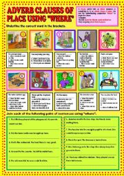 English Worksheets: Adverb clauses of place using