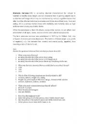 English Worksheet: Activity about Anorexia