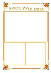 English worksheet: Autumn template (editable)