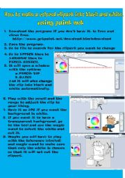 English worksheet: How to change cliparts into black and white with paint net