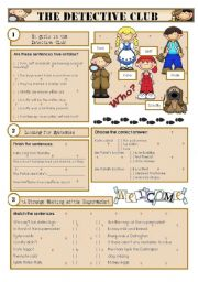 English Worksheet: 1 of 2 LISTENING COMPREHENSION - The Detective Club - 100 min
