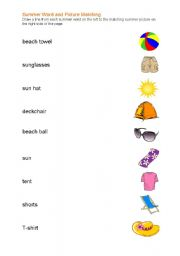 English worksheet: Summer Words and Picture Matching