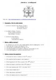 English worksheet: Jamaica: a webquest