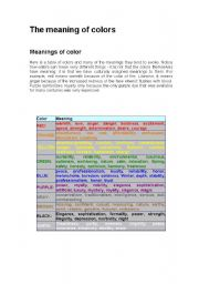 English Worksheets: The meaning of colors