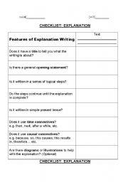 English Worksheets: explanation writing checklist