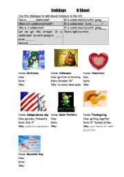 English Worksheets: holidays information gap activity