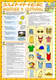 English Worksheet: SUMMER - WEATHER & CLOTHING