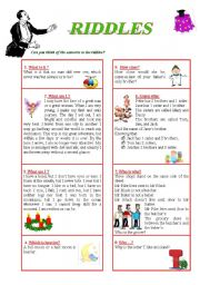 English Worksheet: Funny RIDDLES (including answer key)