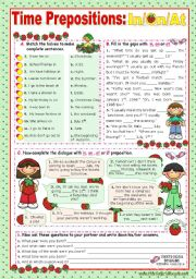 English Worksheet: Time Prepositions:  In/ On/ At  for elementary students