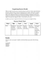 English Worksheets: organizing your sensory details
