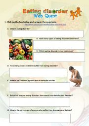 English Worksheets: Food Webquest - Eating Disorder