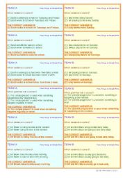 English Worksheet: LOTS OF TENSES!! 3 SKILLS!! (reading, speaking, listening) • 6 PAGES • 60 QUESTION CARDS • CLASSROOM COMPETITION • FULLY EDITABLE • GOOD FOR ADULTS, TOO!!