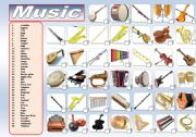 English Worksheet: MUSIC: MUSICAL INSTRUMENTS