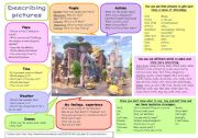English Worksheet: Speaking tips: Describing pictures step-by-step (plus B&W)