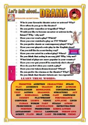 English Worksheet: LET�S TALK ABOUT DRAMA (SPEAKING SERIES 47)