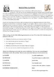 English Worksheets: MAHATMA GHANDI