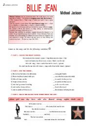 English Worksheets: BILLIE  JEAN   Michael  Jackson
