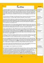English Worksheets: Cutter- a scary reading comprehension!