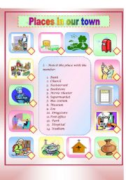 English Worksheet: Places in our town+descriptions