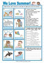 English Worksheet: We Love Summer (2)
