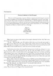 English Worksheets: Reading comprehension and exercises