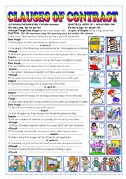English Worksheets: CLAUSES OF CONTRAST