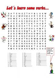 present tense irregular verb wordsearch in present and past tense