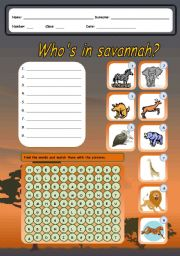 English Worksheets: WHO�S IN SAVANNAH