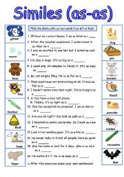 English Worksheets: similes�ias-as) Quesions & Answer key