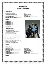 English Worksheets: Missing you Black Eyed Peas