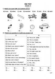 English Worksheets: English pretest