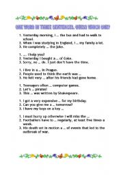 English Worksheets: One word in three sentences 1