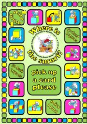 English Worksheet: Where is the smurf? Prepositions board game + cards + instructions. Fully editable